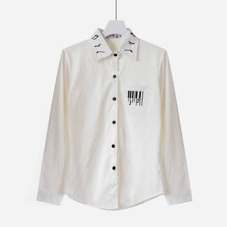 Women's Casual Music Themed Embroidered Shirt Blouses & Shirts Women's Clothing & Accessories