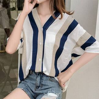 Cute Summer Striped Loose Chiffon Women's Shirt Blouses & Shirts Women's Clothing & Accessories
