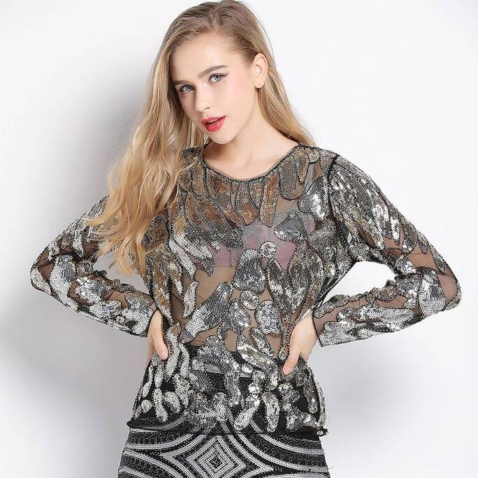 Women's Silver Leopard Sequined Blouse Blouses & Shirts Women's Clothing & Accessories