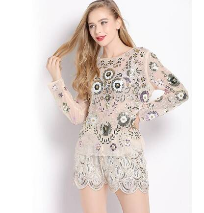 Women's Sequined Floral Pattern Blouse Blouses & Shirts Women's Clothing & Accessories