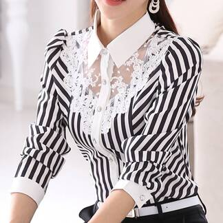 Women's Striped Lace Blouse Blouses & Shirts Women's Clothing & Accessories