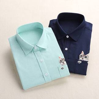 Women's Cat Embroidered Blouse Blouses & Shirts Women's Clothing & Accessories