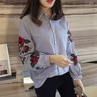 Women's Floral Embroidered Striped Shirt Blouses & Shirts Women's Clothing & Accessories