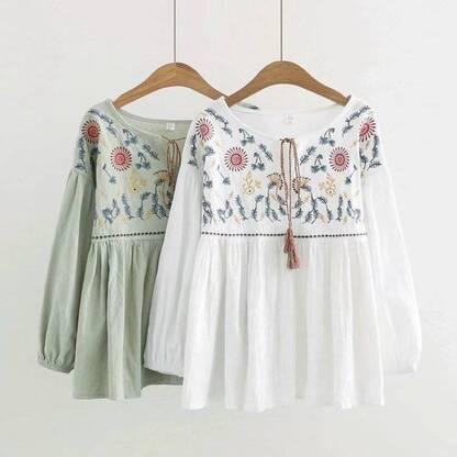 Girl's Bohemian Style Blouse with Embroidery Blouses & Shirts Women's Clothing & Accessories