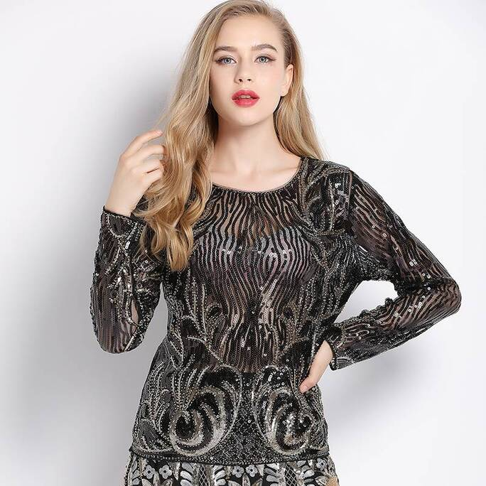 Women's Enchanted Forest Sequined Blouse Blouses & Shirts Women's Clothing & Accessories
