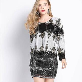 Women's Sequined Ornamental Pattern Blouse Blouses & Shirts Women's Clothing & Accessories