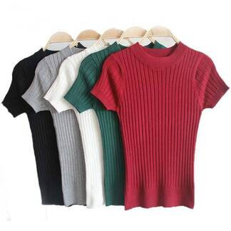 Women's Casual Knitted Short Sleeved Blouse Blouses & Shirts Women's Clothing & Accessories