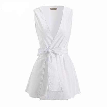 Women's Sleeveless Draped Blouse With Sashes Blouses & Shirts Women's Clothing & Accessories