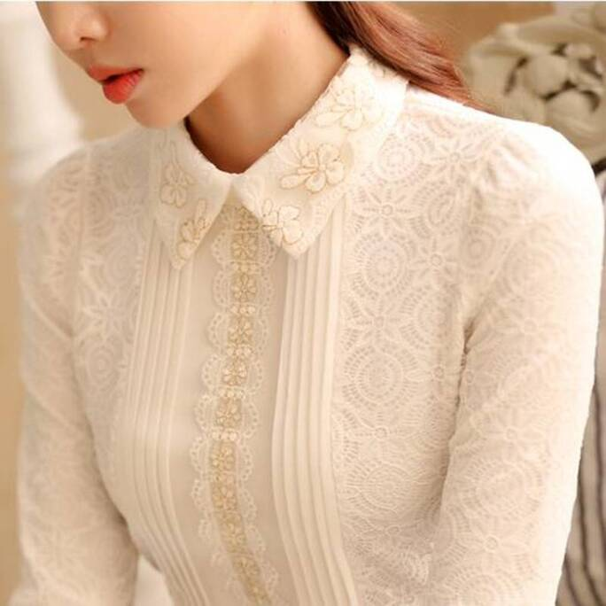 Women's Vintage Lace Long Sleeved Blouse Blouses & Shirts Women's Clothing & Accessories