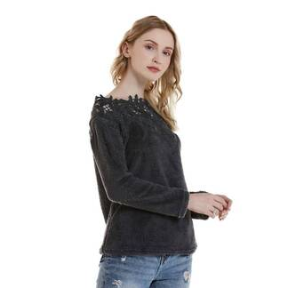 Women's Lace-Trimed Knitted Blouse Blouses & Shirts Women's Clothing & Accessories