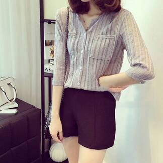Women's Summer Casual Blouse with Pockets Blouses & Shirts Women's Clothing & Accessories