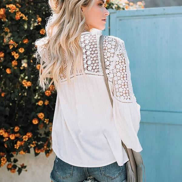 Women's Hollow Out Flare Sleeved Blouse Blouses & Shirts Women's Clothing & Accessories