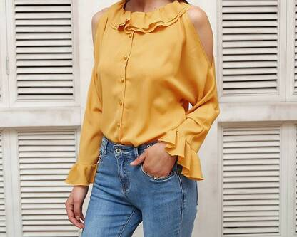 Women's Cold Shoulder Ruffled Blouse Blouses & Shirts Women's Clothing & Accessories
