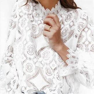 Women's Elegant White Floral Lace Blouse Blouses & Shirts Women's Clothing & Accessories