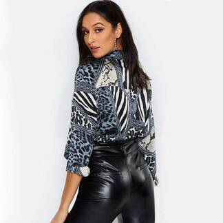 Women's Leopard Printed Long Sleeve Blouse Blouses & Shirts Women's Clothing & Accessories