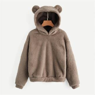 Women's Plush Teddy Hoodie Hoodies & Sweatshirts Women's Clothing & Accessories