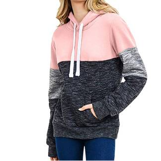 Women's Casual Tricolor Hoodie Hoodies & Sweatshirts Women's Clothing & Accessories