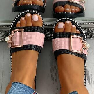 Metal Buckle Decorated Sandals Women Shoes Women's Sandals