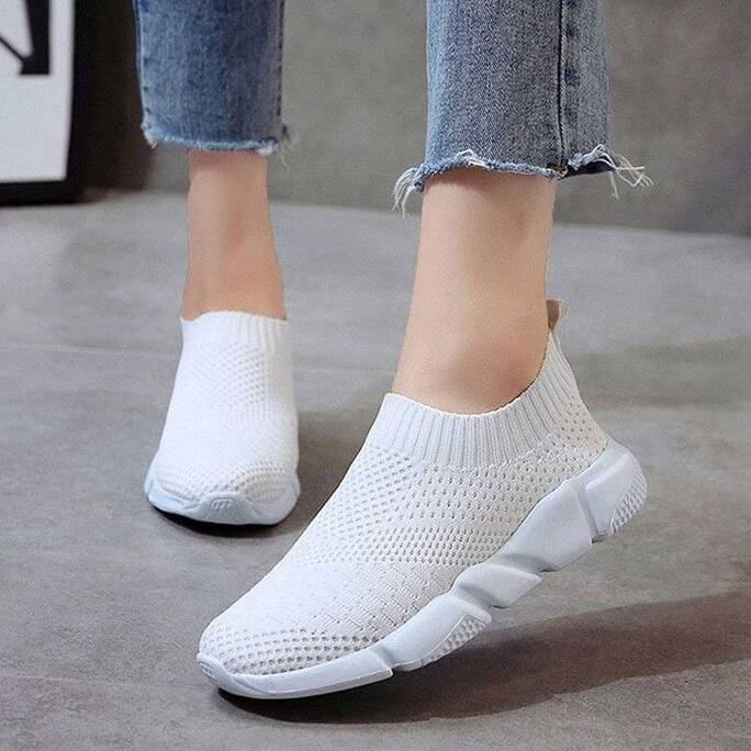 Women's Breathable Slip-On Sneakers Loafers Women Shoes