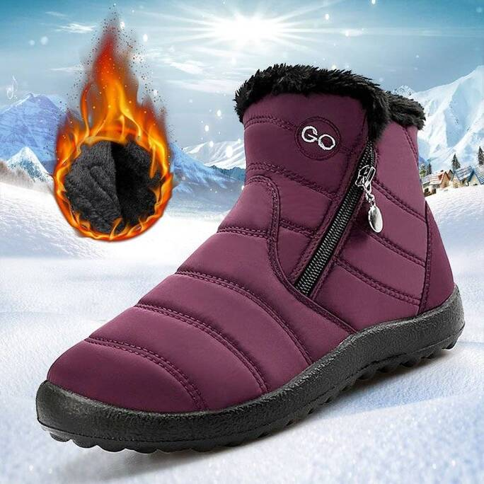 Women's Winter Quilted Fur Boots Women Shoes Women's Boots