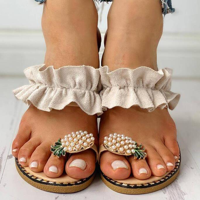 Women's Summer Slippers with Pineapple Shaped Brooch Slippers Women Shoes