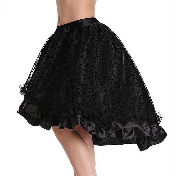 Asymmetrical Coffee Black Satin Lace Corset Skirt Bottoms Skirts Women's Clothing & Accessories