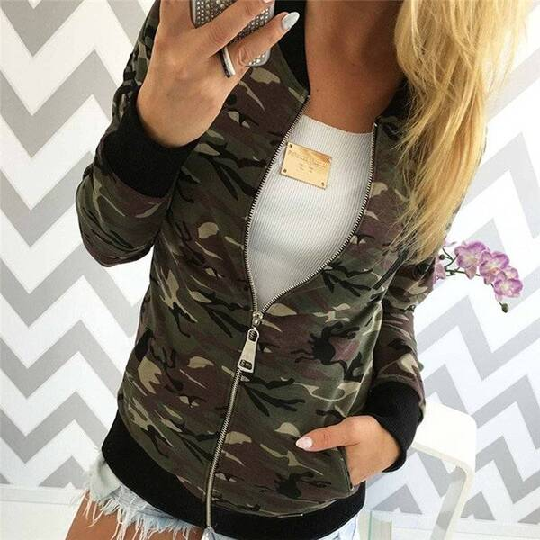 Autumn Jackets for Women with Camouflage Designs Basic Jackets Jackets & Coats Women's Clothing & Accessories