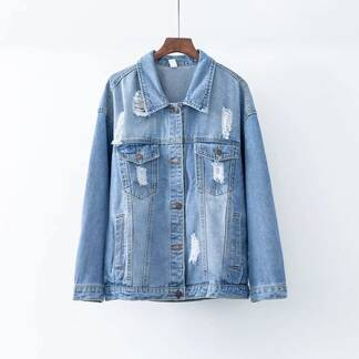 Blue Women's Denim Jacket with Long Sleeves Basic Jackets Jackets & Coats Women's Clothing & Accessories