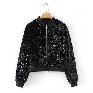 Bomber Jacket with Sequin Details Basic Jackets Jackets & Coats Women's Clothing & Accessories