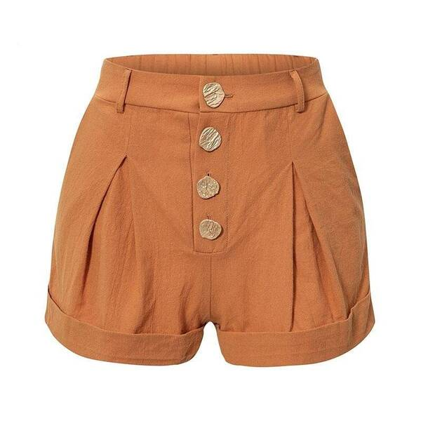 Casual Cotton Shorts with Buttons Bottoms Shorts Women's Clothing & Accessories