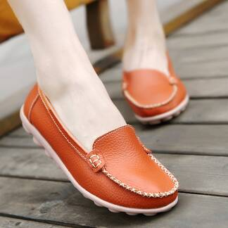 Casual Slip-On Leather Women's Loafer Shoes Women Shoes Women's Flats