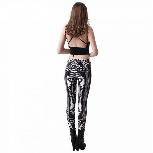 Cute Casual Playing-Card Themed Elastic Women's Leggings Bottoms Leggings Women's Clothing & Accessories