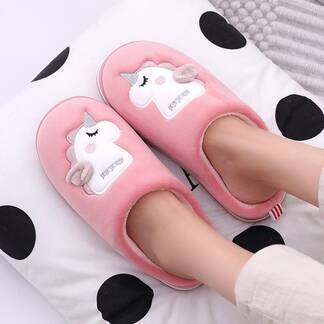 Cute Unicorn Embroidered Home Slippers Slippers Women Shoes