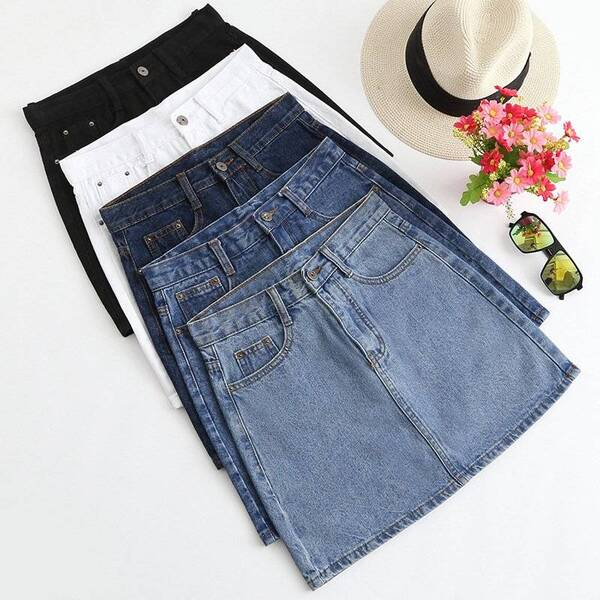 Denim High Waisted Women's Skirt in Street Style Bottoms Skirts Women's Clothing & Accessories