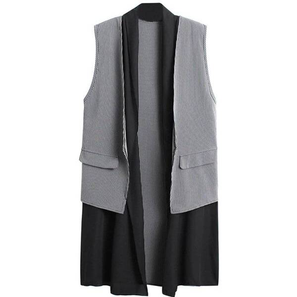 Double Layered Women's Vest in Stripes Jackets & Coats Vests & Waistcoats Women's Clothing & Accessories