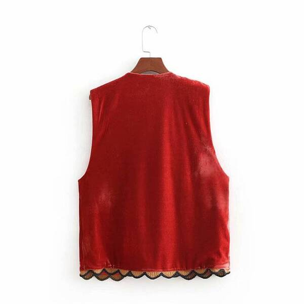 Embroidery Women's Vest in Red Jackets & Coats Vests & Waistcoats Women's Clothing & Accessories