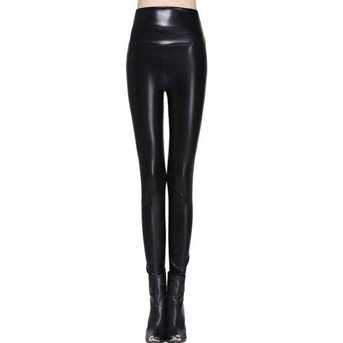 Fashion Casual High-Waisted Elastic Leather Women's Leggings Bottoms Leggings Women's Clothing & Accessories