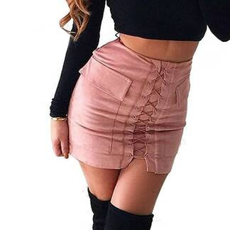 Fashion High-Waisted Lace-Up Women's Mini Skirt Bottoms Skirts Women's Clothing & Accessories