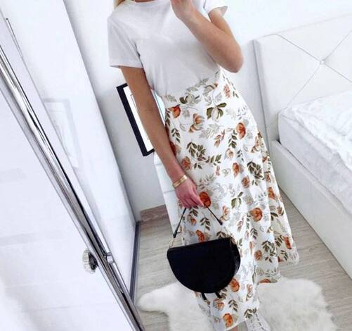 Floral Print Maxi Skirt Bottoms Skirts Women's Clothing & Accessories