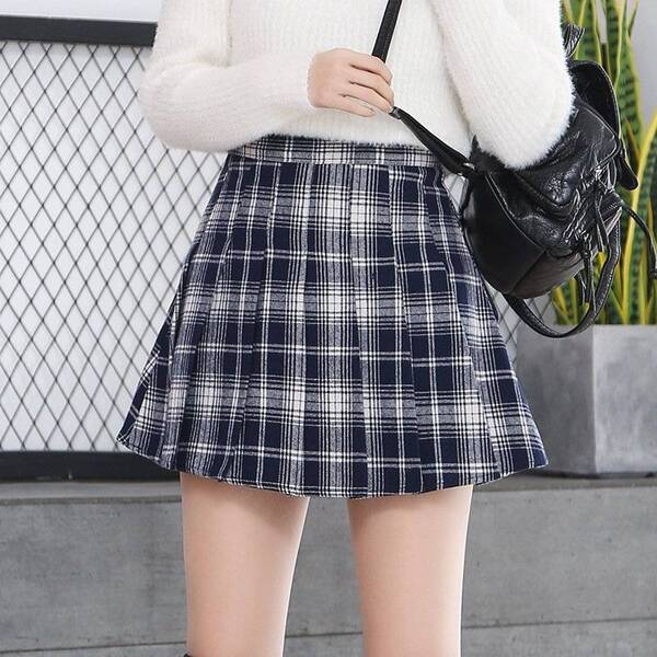 Harajuku Styled Mini Plaid Skirt for Women Bottoms Skirts Women's Clothing & Accessories