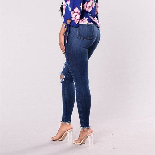 High Waist Ripped Jeans Bottoms Jeans Women's Clothing & Accessories