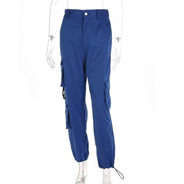 High Waisted Blue Cargo Pants for Women Bottoms Pants & Capris Women's Clothing & Accessories