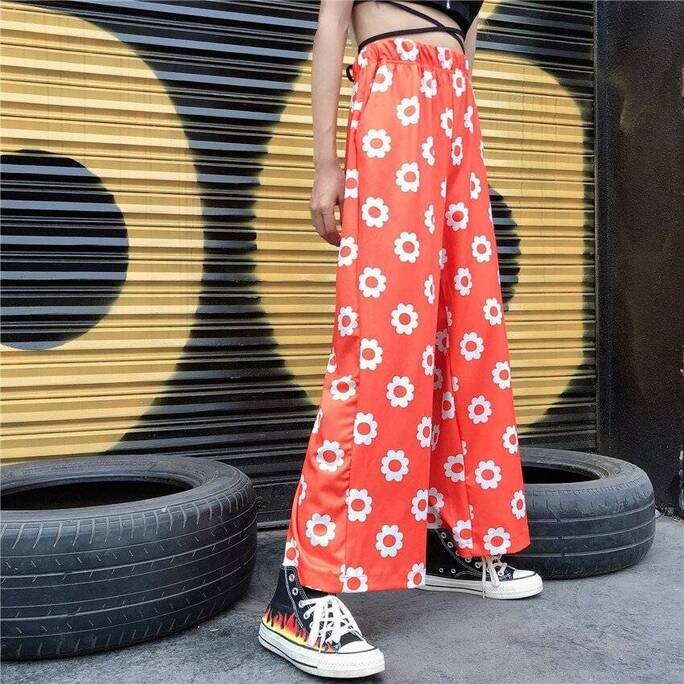 High Waisted Women's Pants in Floral Print Bottoms Leggings Women's Clothing & Accessories