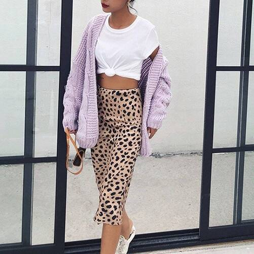 Leopard Printed A-Line Midi Skirt for Women Bottoms Skirts Women's Clothing & Accessories