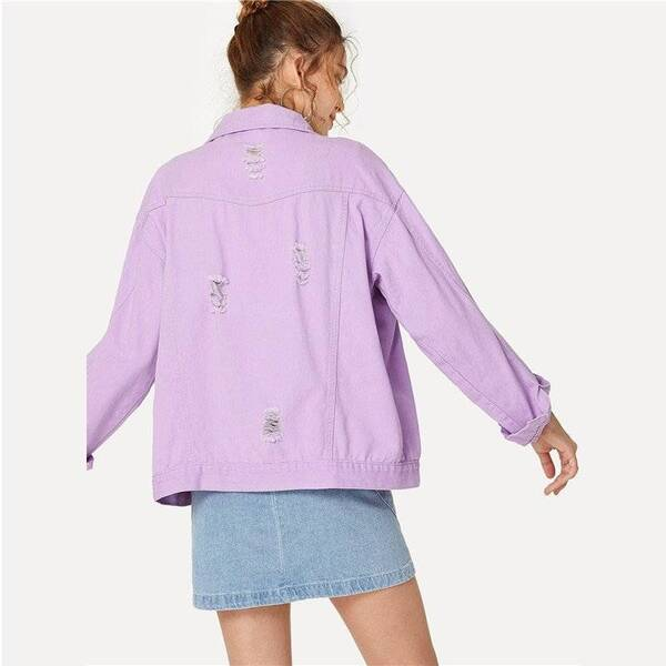 Oversize Lilac Color Ripped Denim Women's Jacket Basic Jackets Jackets & Coats Women's Clothing & Accessories