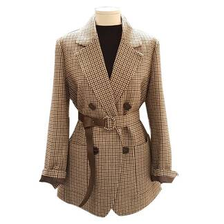 Plaid Women's Blazer with Belt Basic Jackets Jackets & Coats Women's Clothing & Accessories
