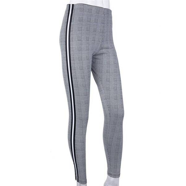 Stretchy Side Striped Gray Plaid Pencil Pants for Women Bottoms Pants & Capris Women's Clothing & Accessories