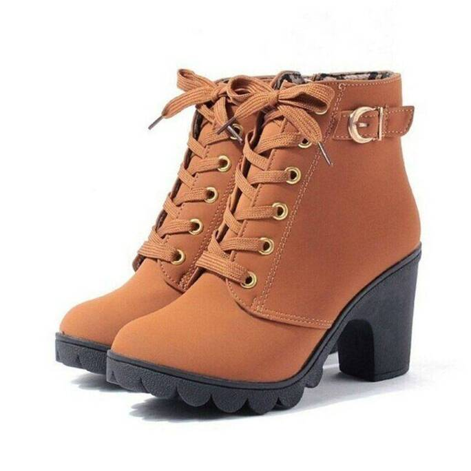 Stylish Winter Casual High-Heeled Leather Women's Boots Women Shoes Women's Boots