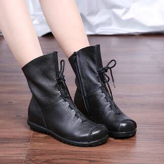 Vintage Demi-Season Casual Leather Women's Boots Women Shoes Women's Boots