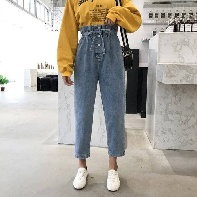 Vintage Styled Ruffled Jeans Bottoms Jeans Women's Clothing & Accessories
